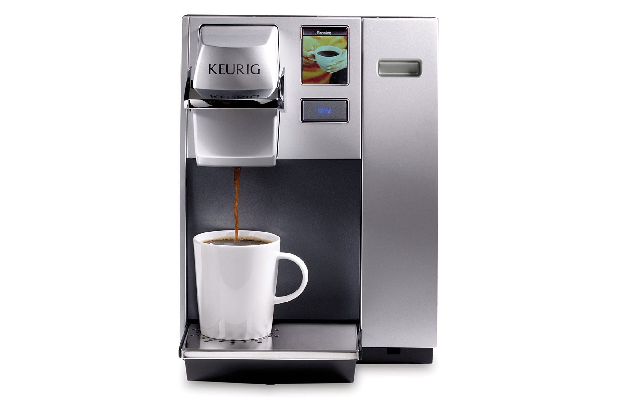 Keurig K155 Office Pro Coffee maker brewing coffee into white mug