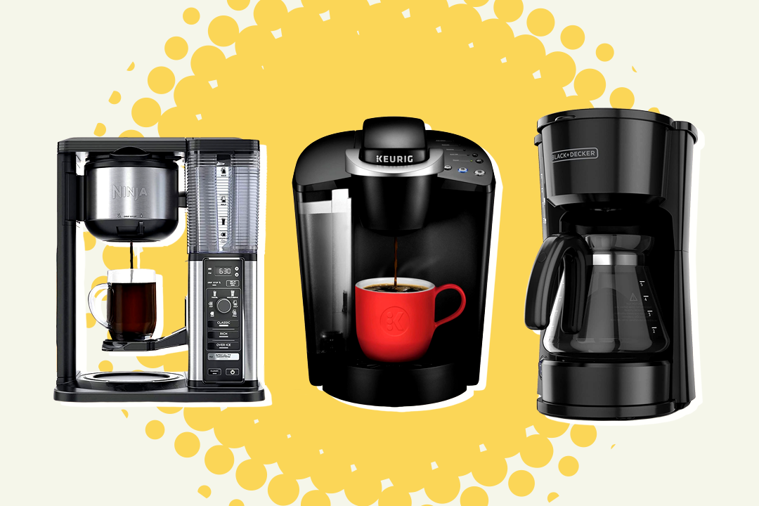 Three coffee makers on yellow and white background