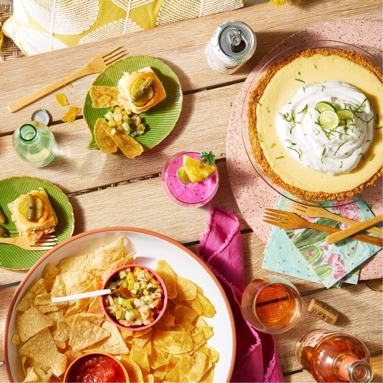 tropical theme pool party food and decor
