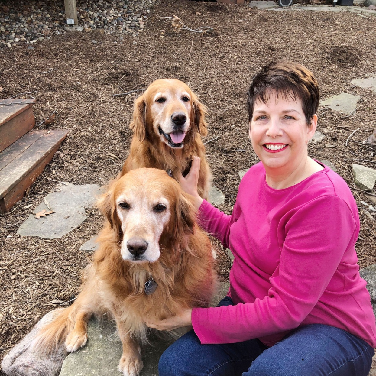 Jennifer Dorland Darling with her dogs Josie and Pippa