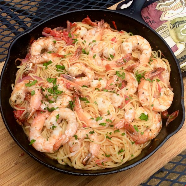 Grilled Shrimp with Fresh Tomato Sauce and Angel Hair Pasta