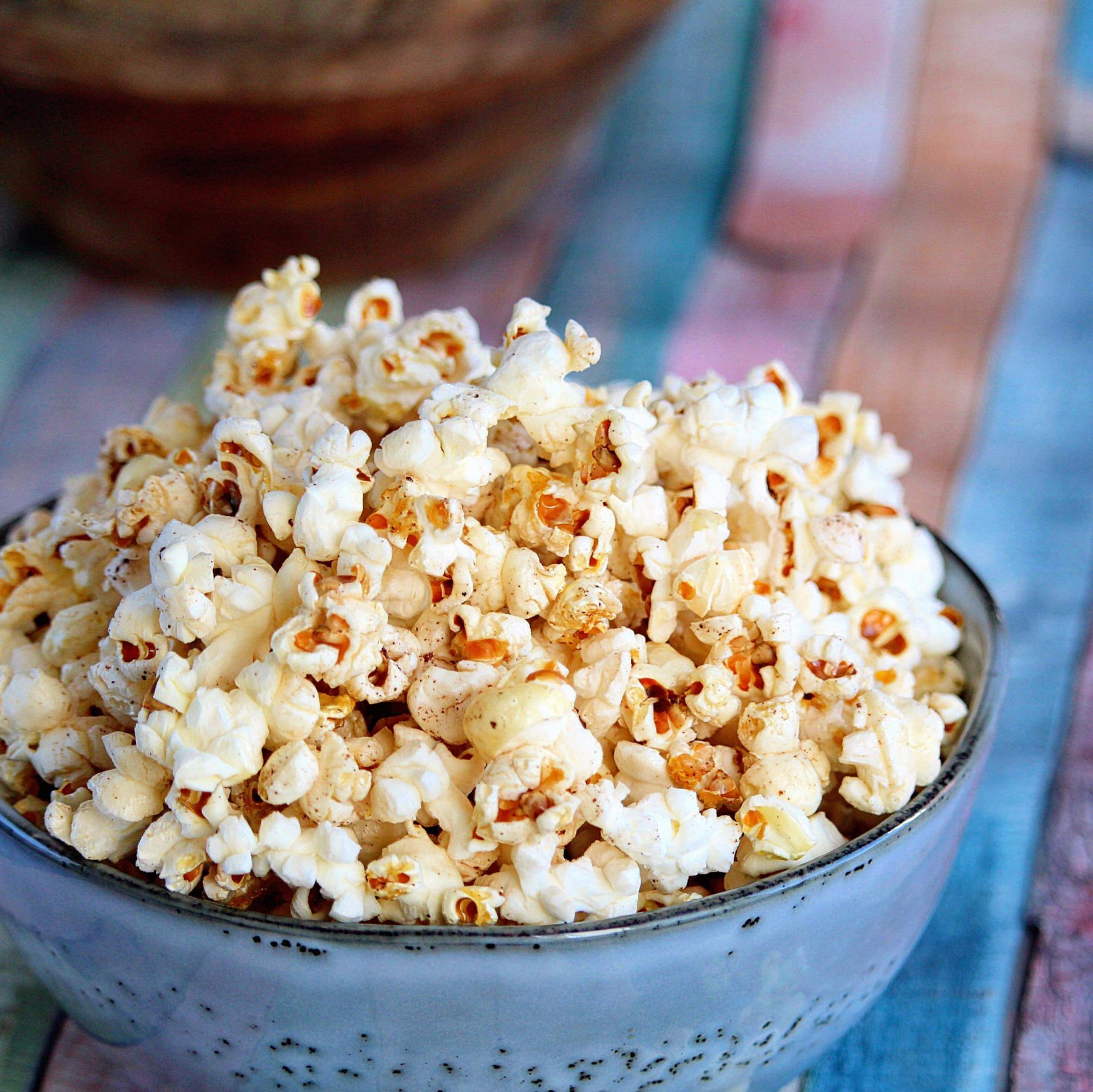 Movie Star Popcorn in blue bowl