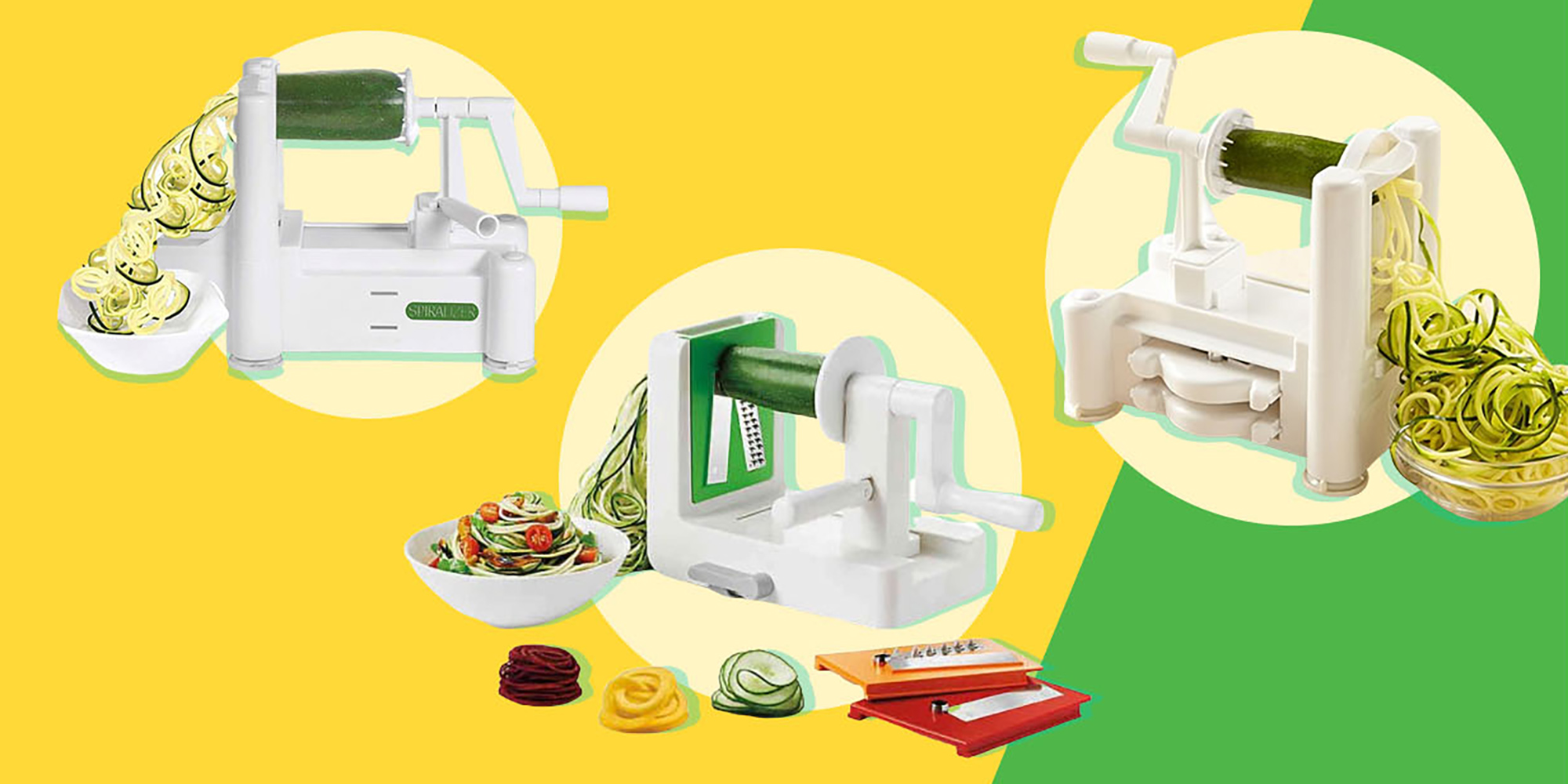 Three countertop spiralizers on yellow and green background
