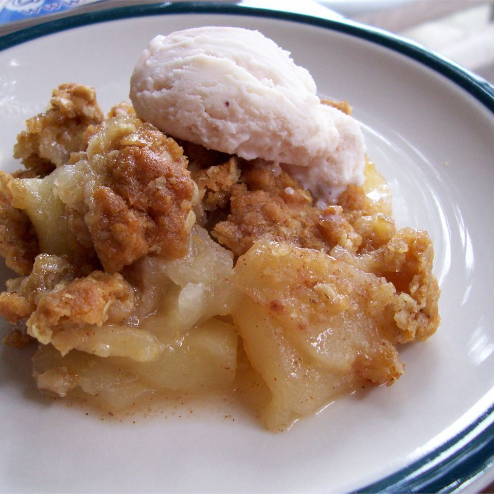 Apple Crisp II on a white and blue plate