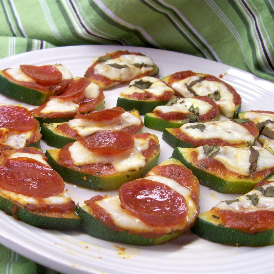 Grilled Zucchini Pizza with pepperoni