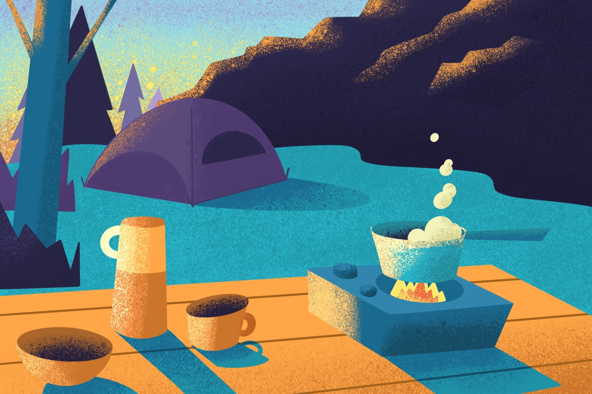 custom illustrated camping scene. A table with a thermos and drinks and pot bubbling on a single burner in the foreground with a pitched tent nestled into the hillside in the background.