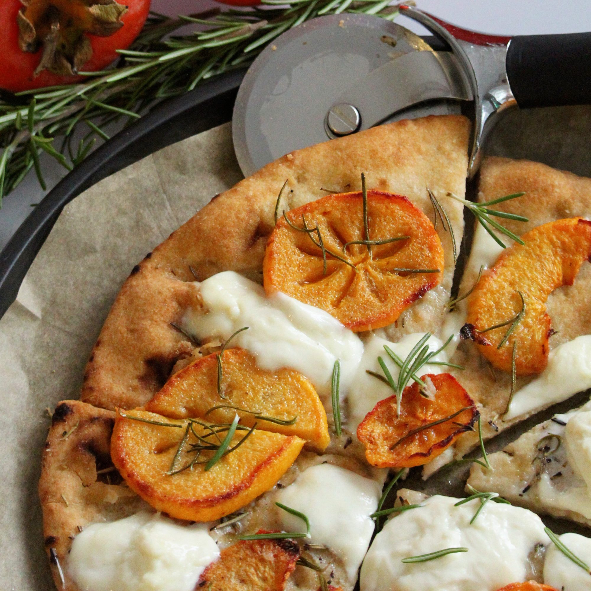Roasted Persimmon-Burrata Focaccia