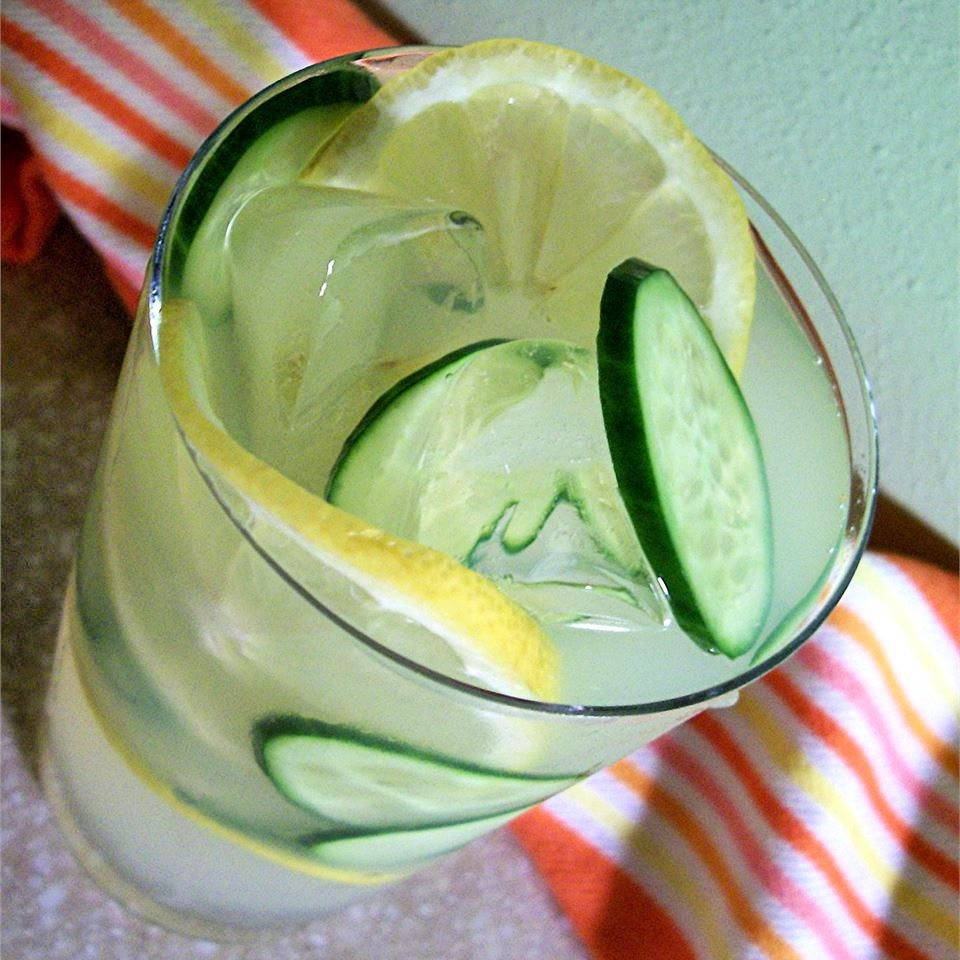 cucumber and lemon punch in a glass