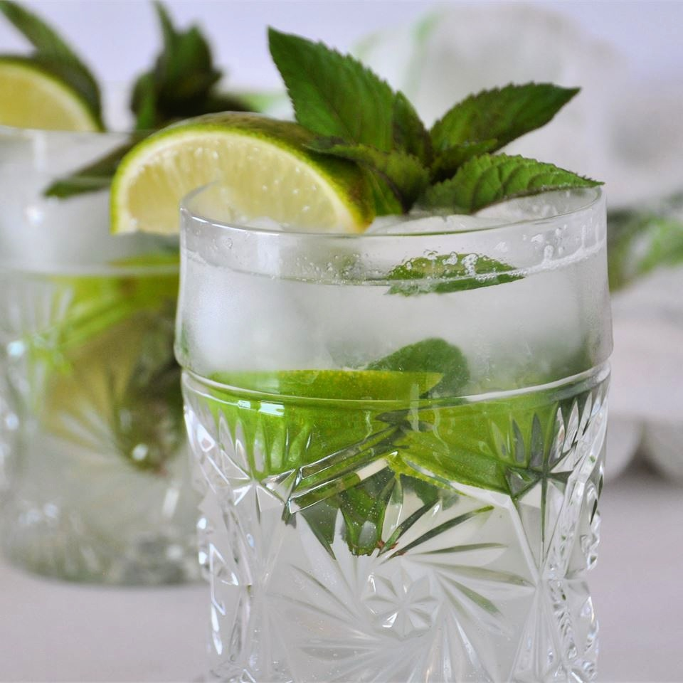 mojito cocktail on the rocks with lime wedge and mint garnish