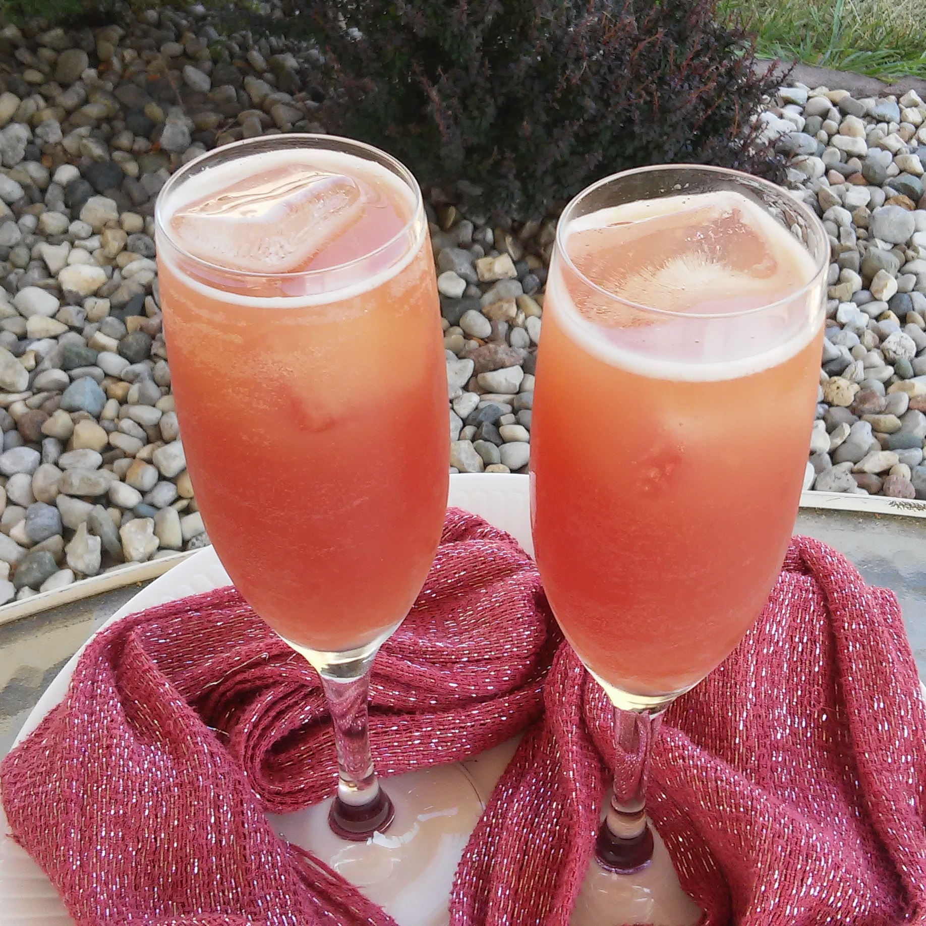 two glasses of pink champagne mocktails