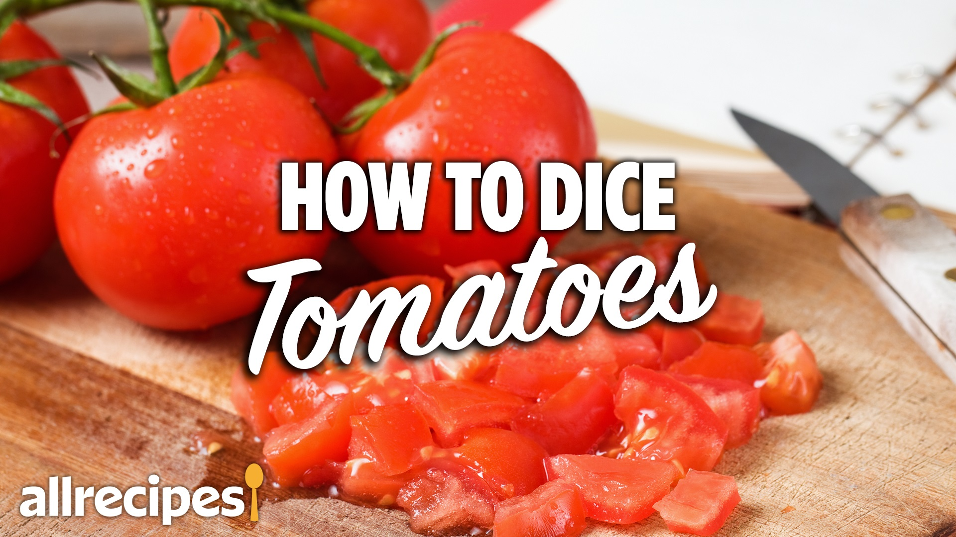 diced tomatoes on a cutting board