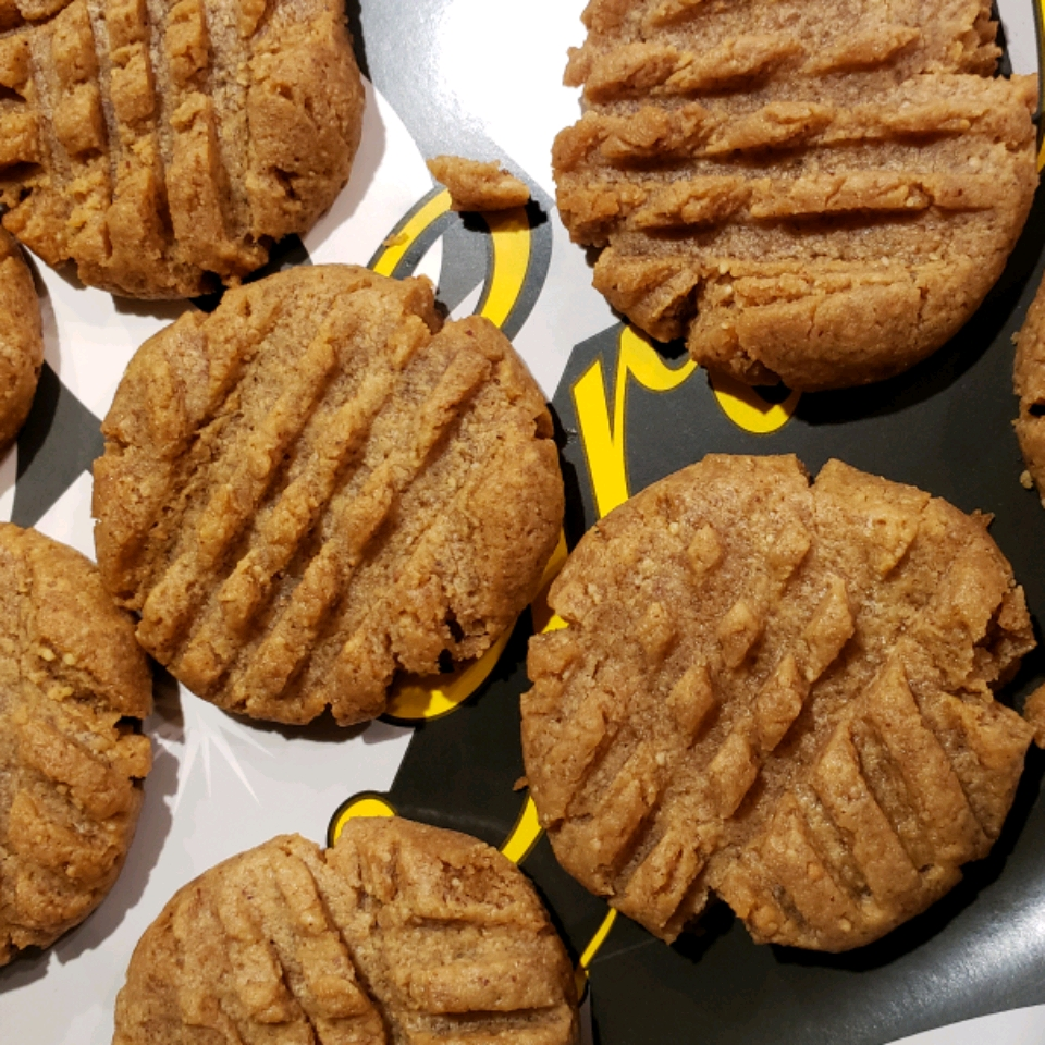 Keto Peanut Butter Cookies on a black and white background