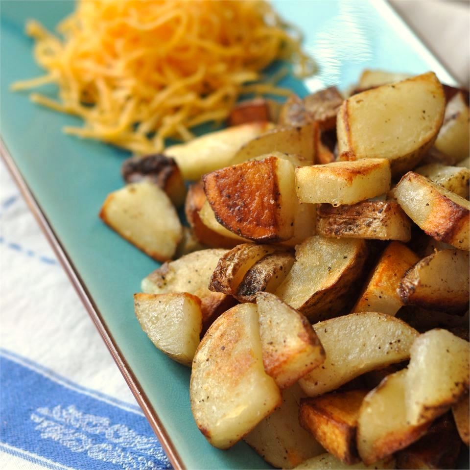 Quick and Easy Home Fries on turquoise dish