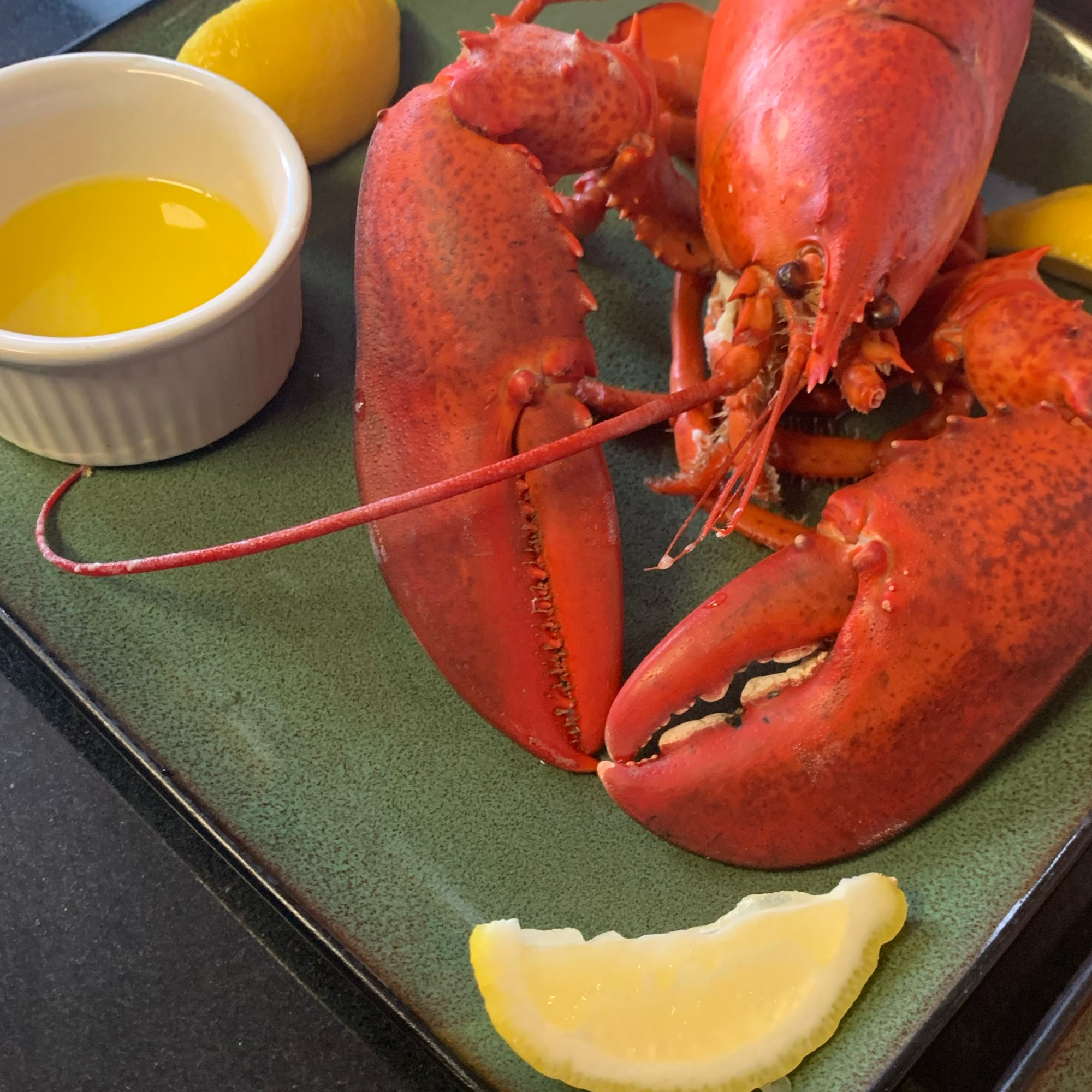 boiled whole lobster with lemon and melted butter