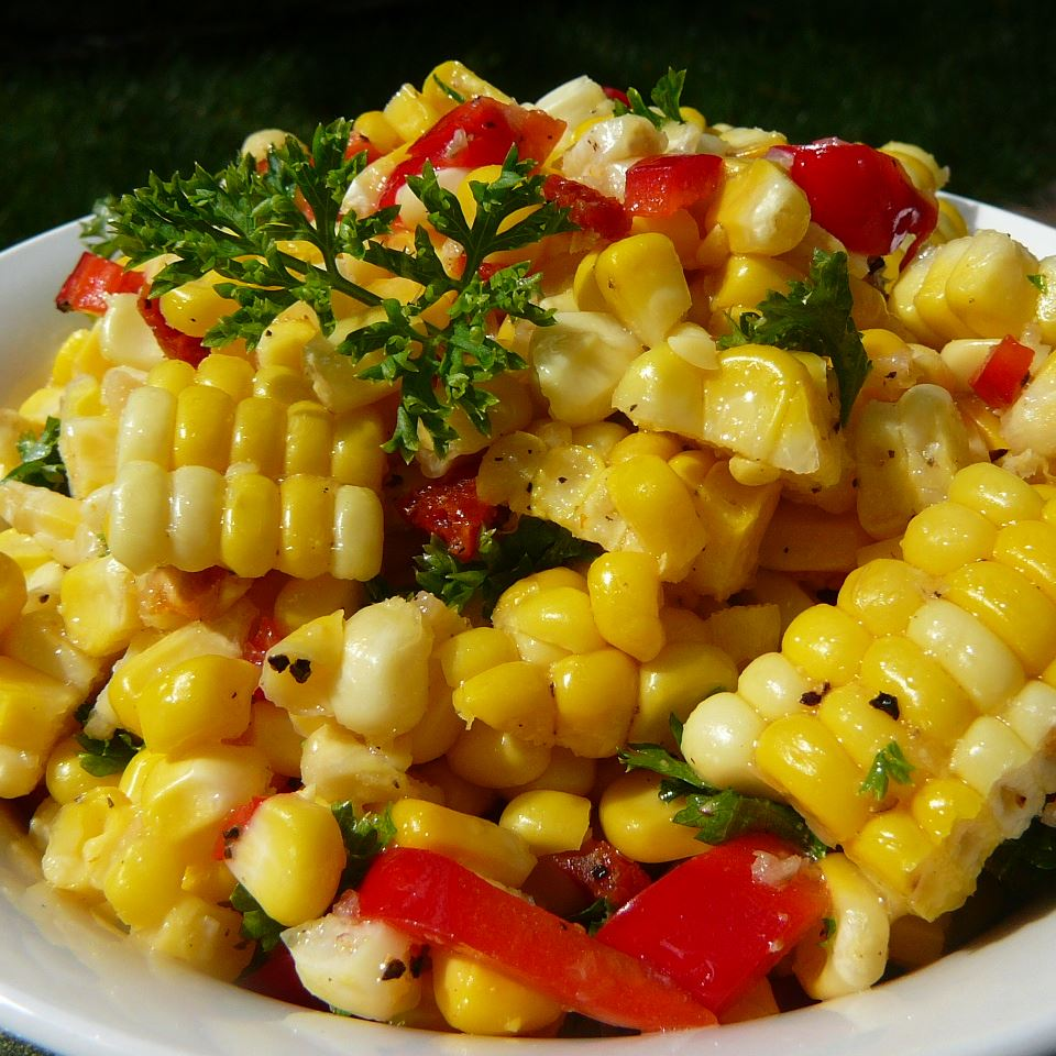 Corn Off the Cob Salad in white bowl