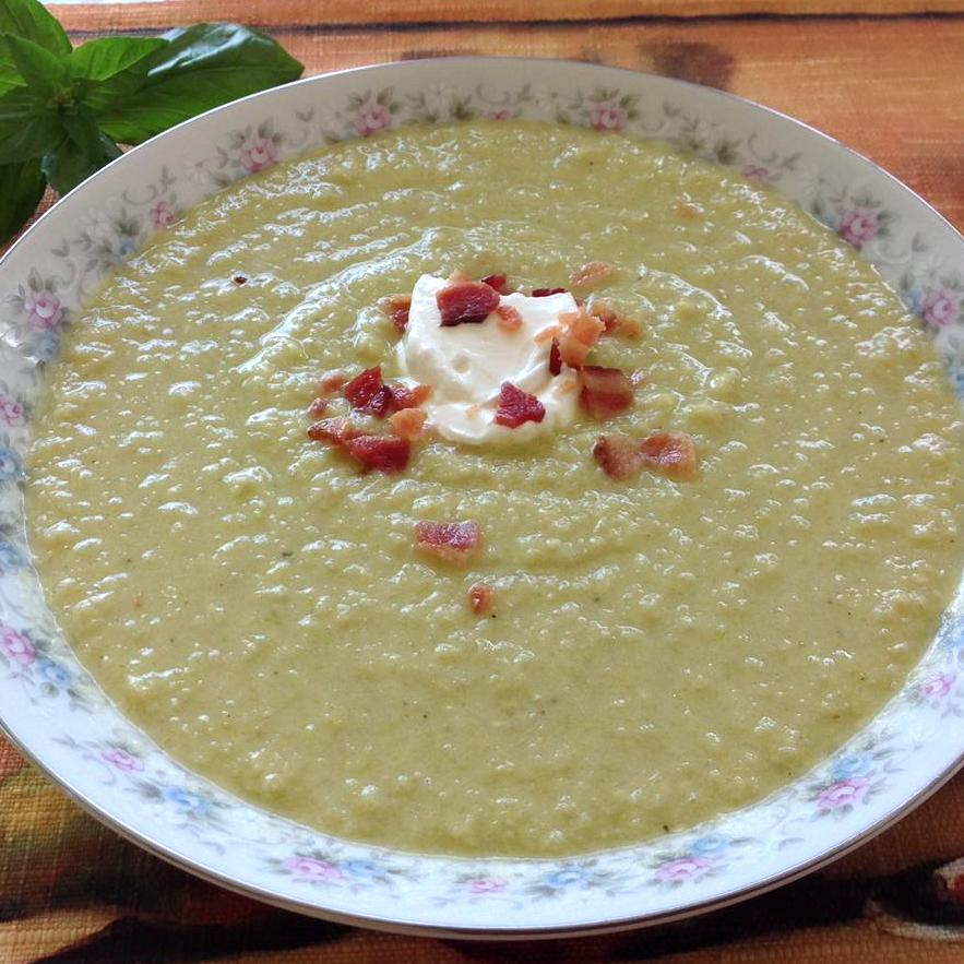 Green Tomato Soup in a white floral bowl
