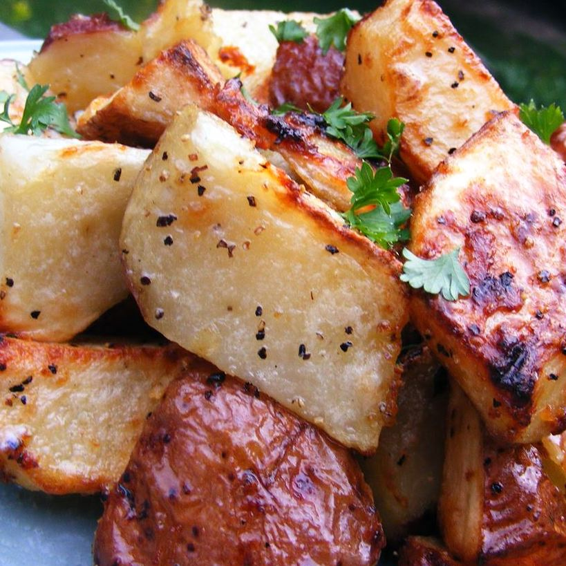 Quick and Easy Grilled Potatoes on a white plate