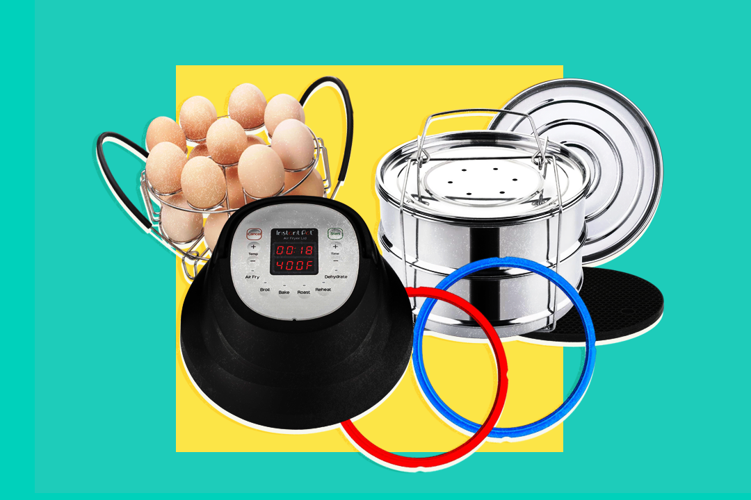 Instant Pot Accessories including egg steamer rack, air fryer lid, sealing rings, and stackable steamer on turquoise and yellow background.