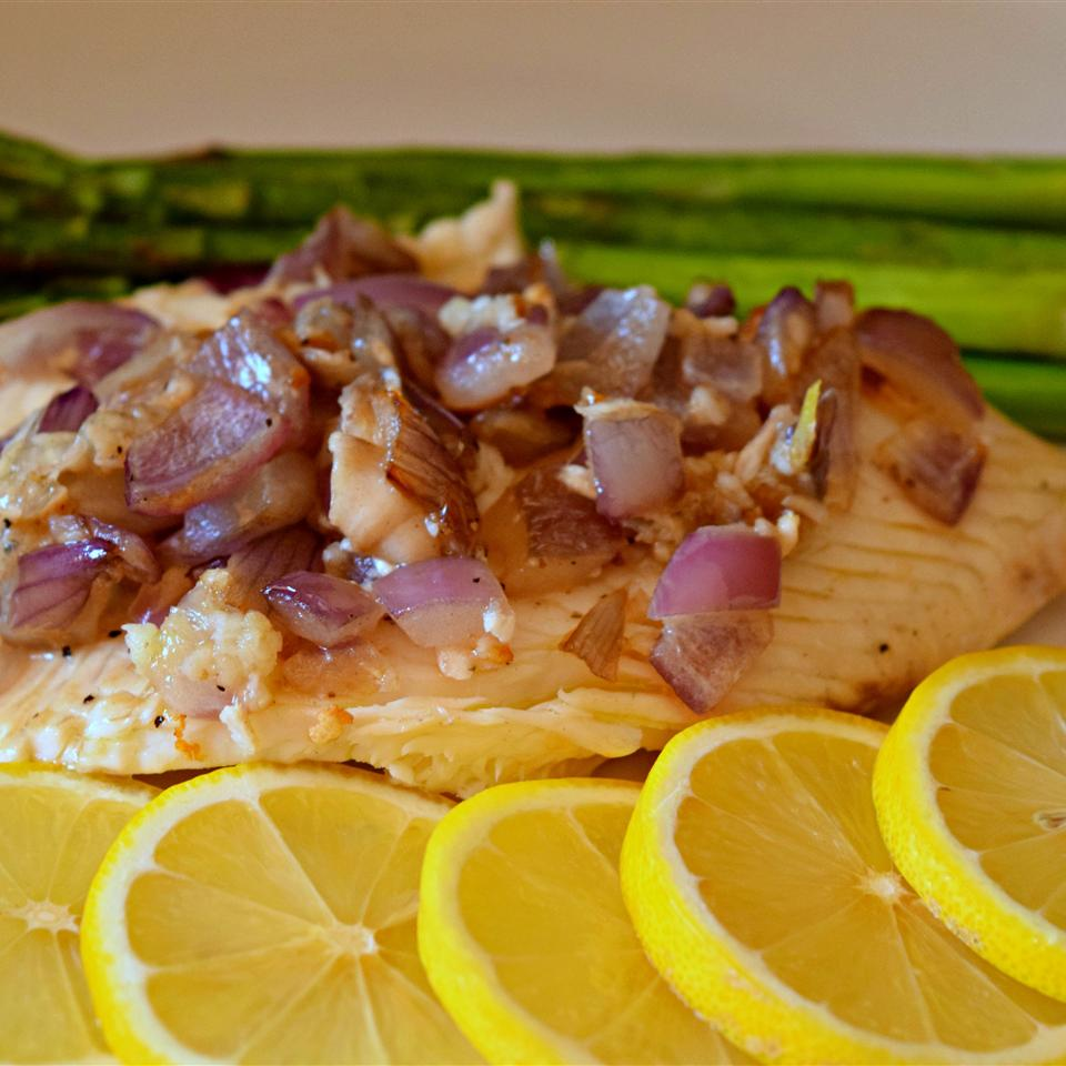 Pan-Grilled Tilapia with Lemon and Red Onion served with asparagus