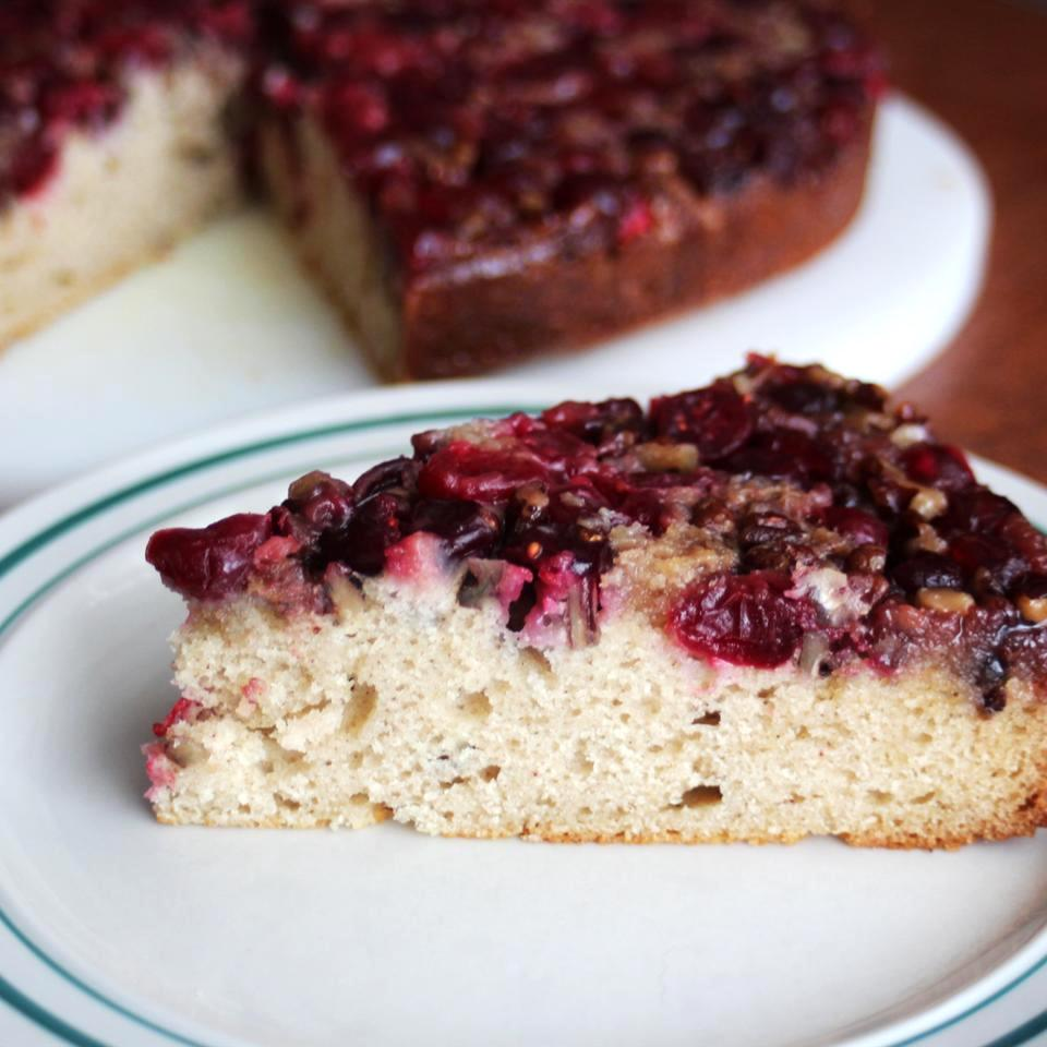 Cranberry Upside-Down Coffee Cake slice on a white plate