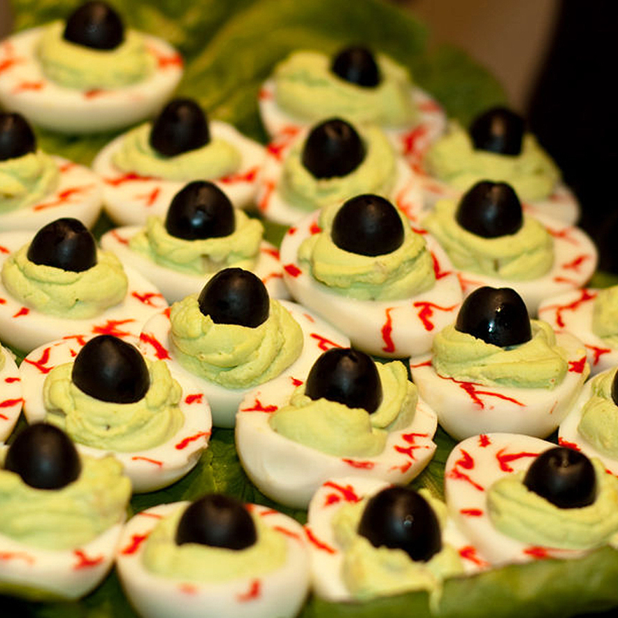 Halloween Eye of Newt deviled eggs with olive pupils