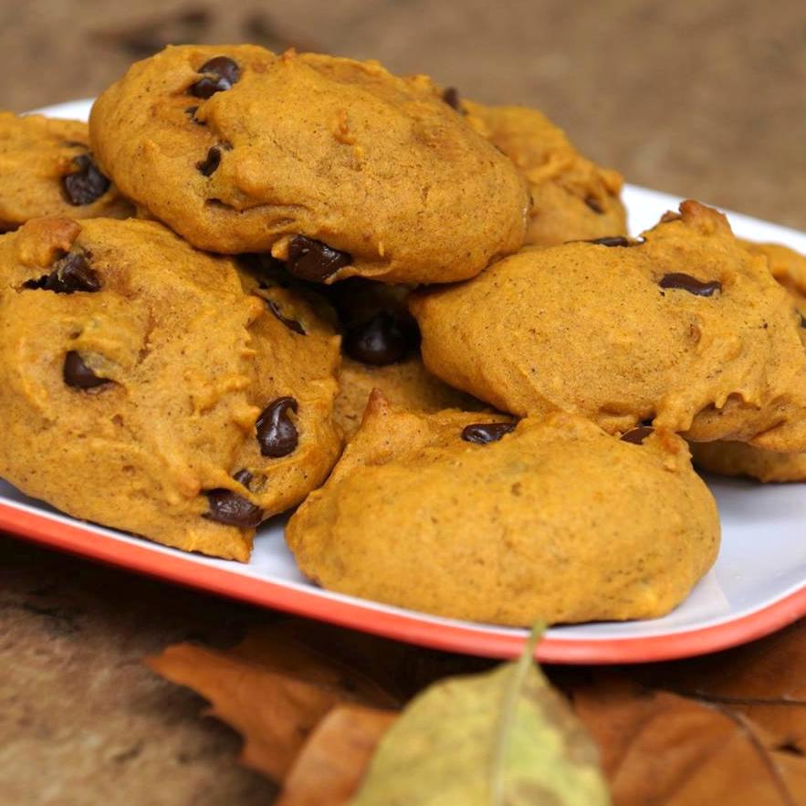 Pumpkin Chocolate Chip Cookies III on a white and orange plate