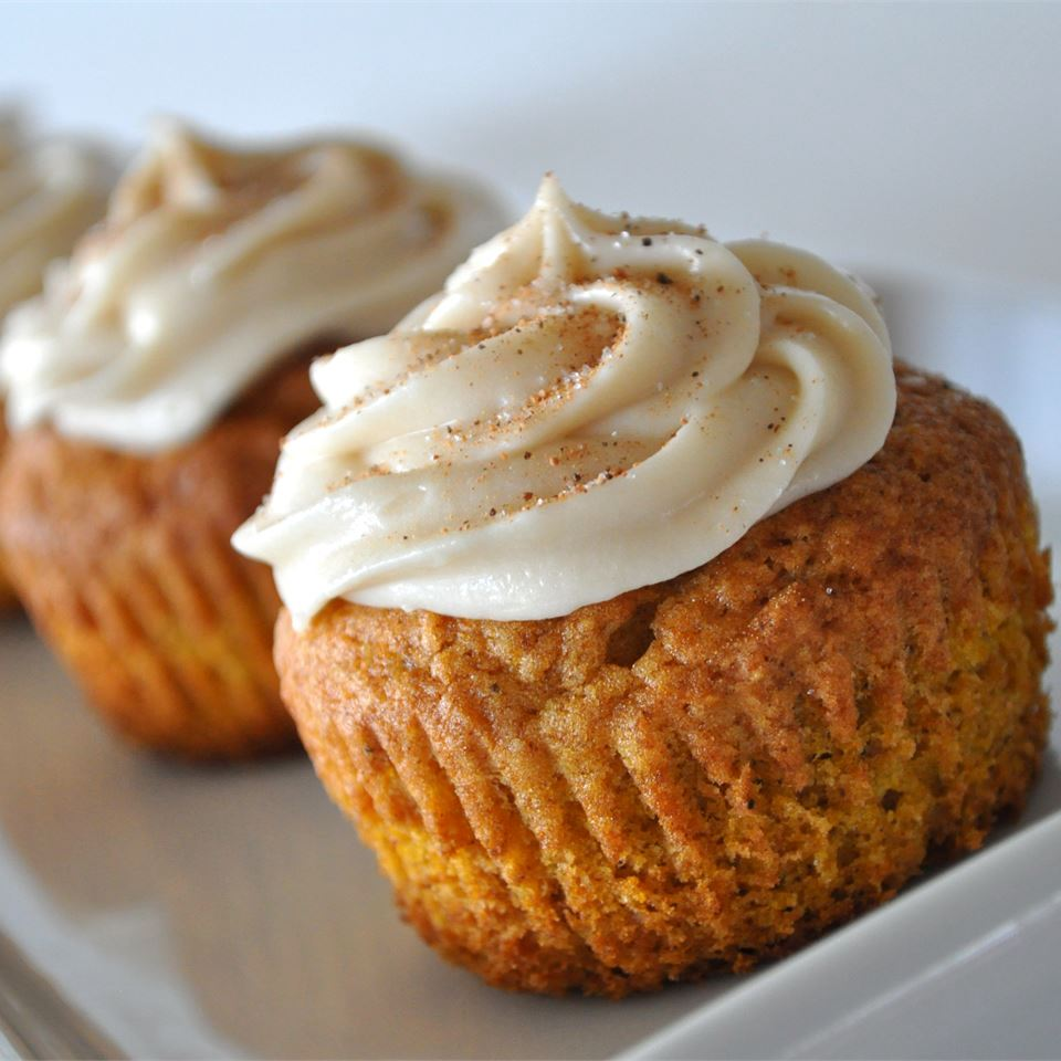 Pumpkin Spice Cupcakes on a white dish