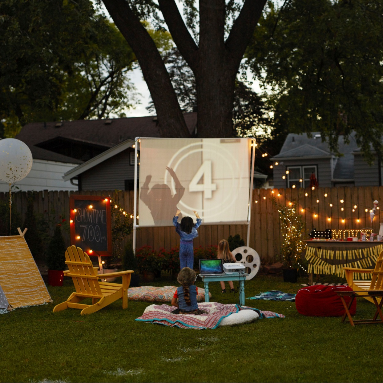 set up and ready for family backyard movie night