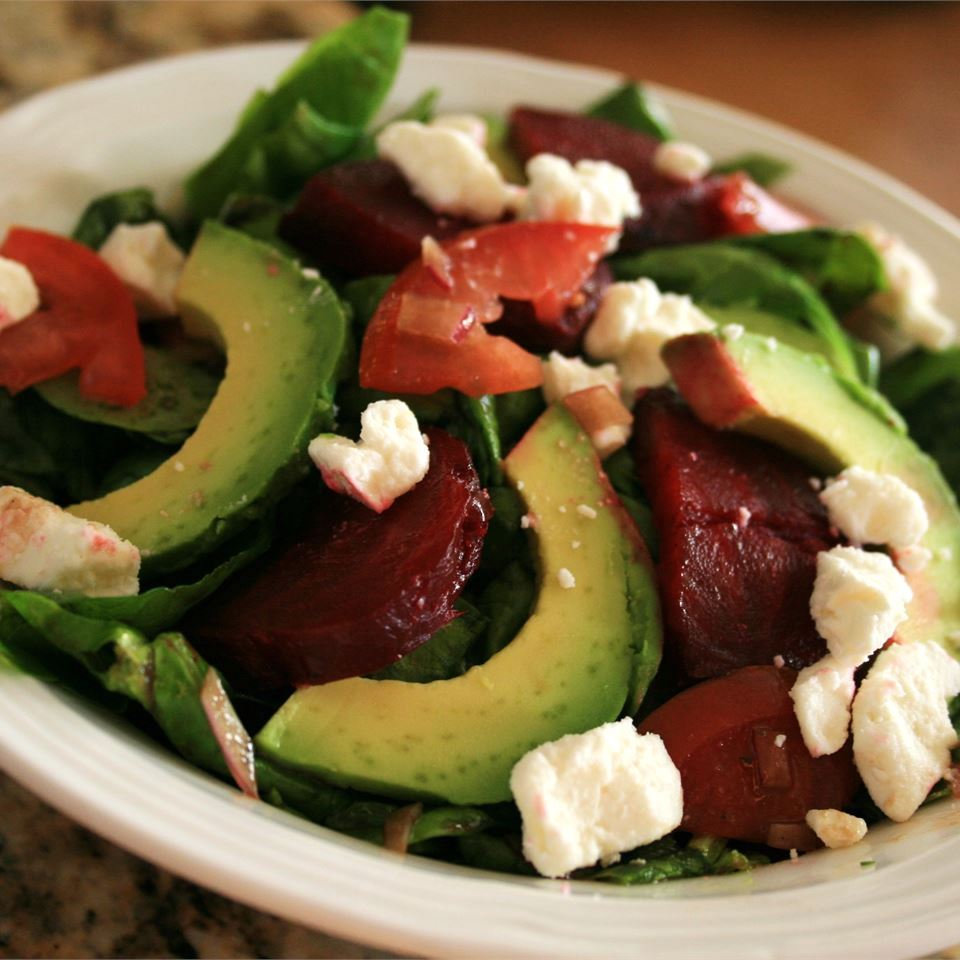 My Favorite Beet Salad with feta cheese on top