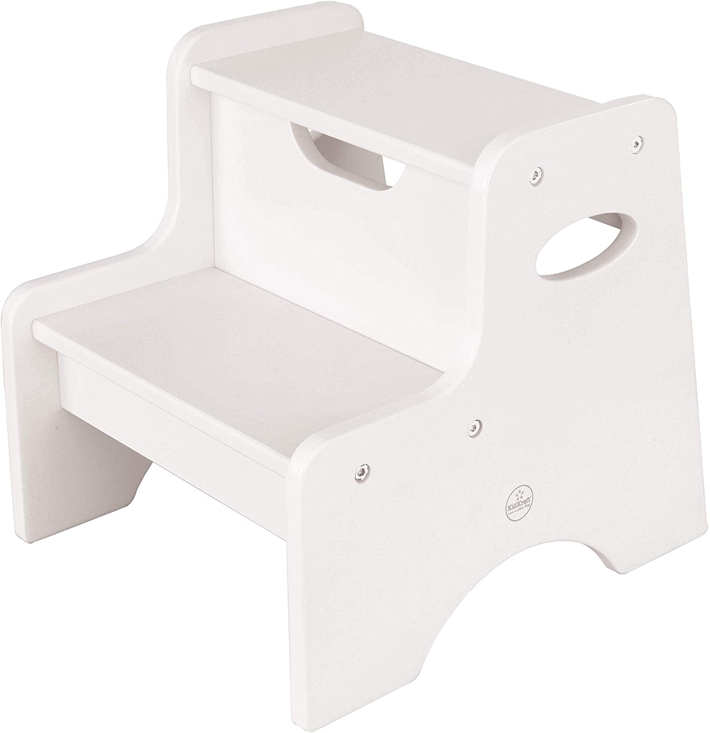 white KidKraft Wooden Two Step Children's Stool with Handles on a white background