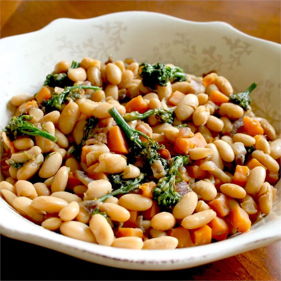 Maple Cannellini Bean Salad with Baby Broccoli and Butternut Squash in a white dish