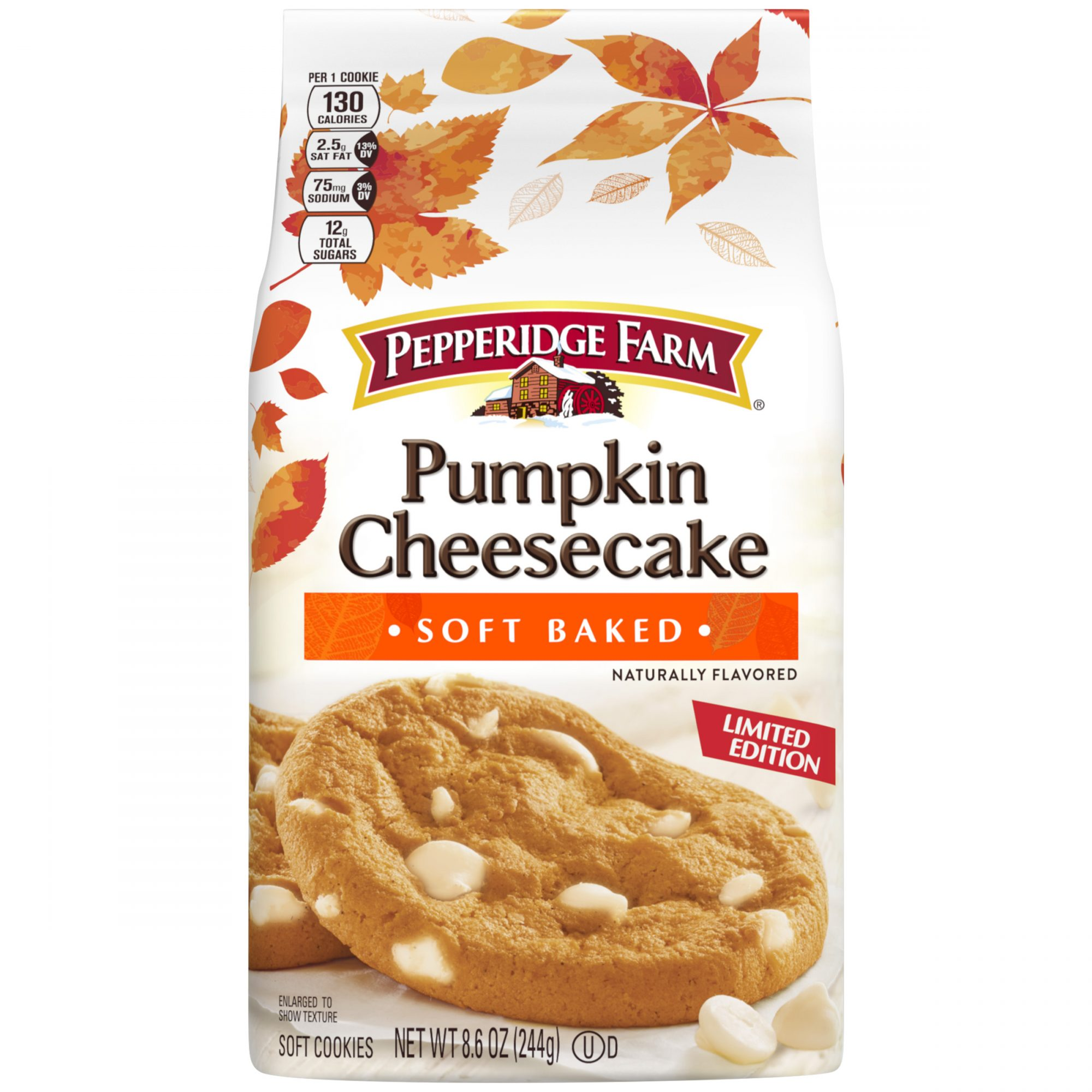 a package of Pumpkin Cheesecake Cookies on a white background