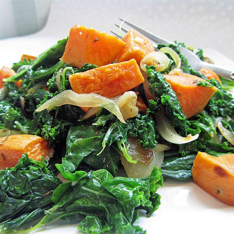 Roasted Yam and Kale Salad on a white dish