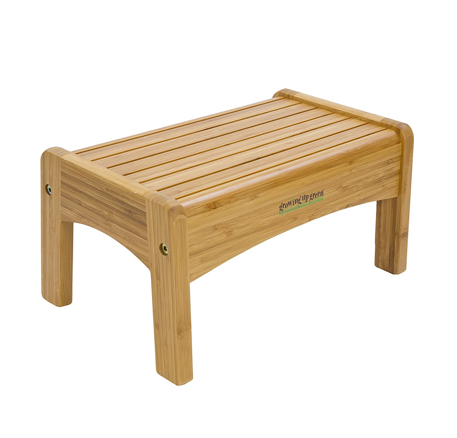 Growing Up Green Bamboo Step Stool on white background