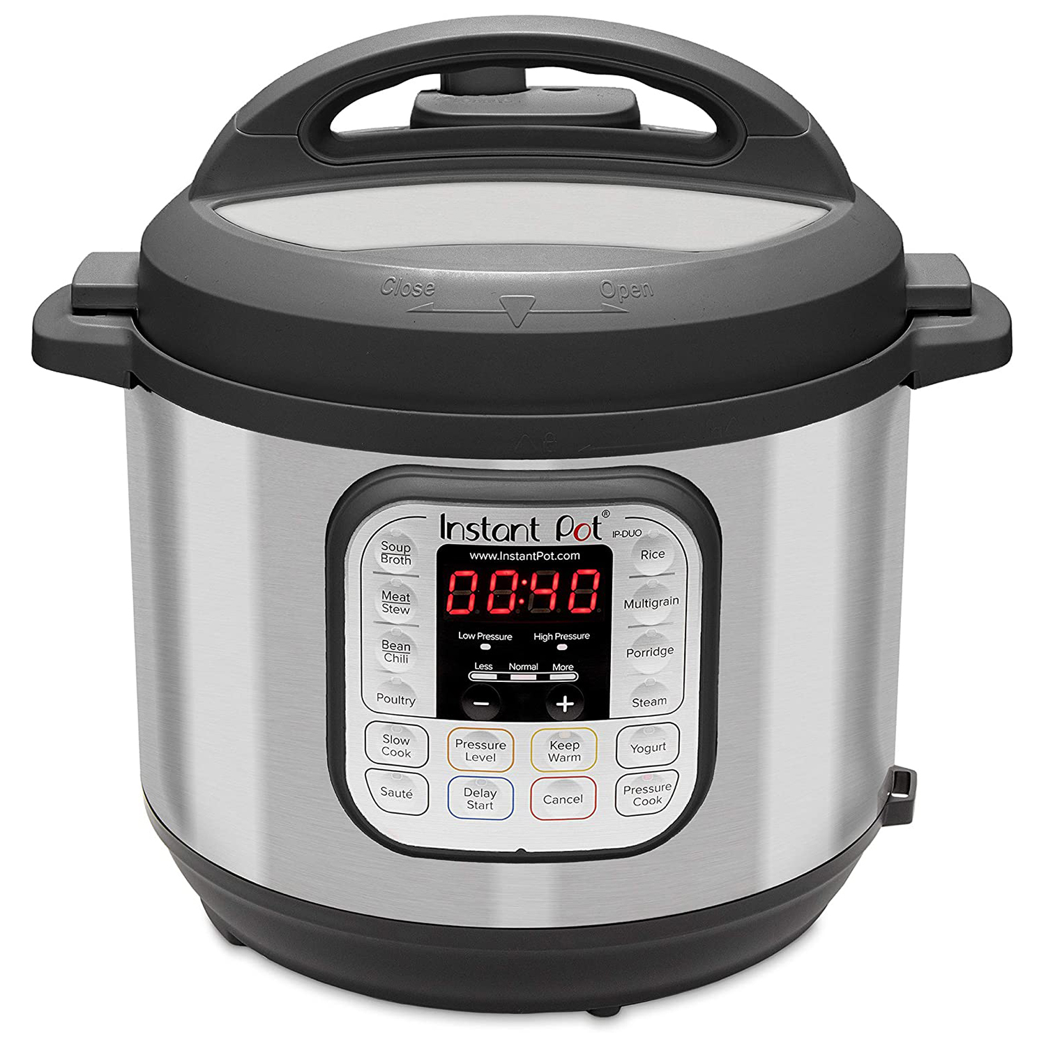 Instant Pot Duo 7-in-1 Electric Pressure Cooker in Black on white background