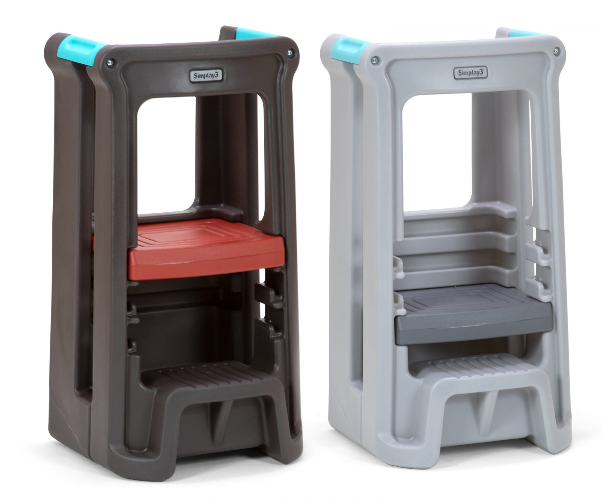 Two Simplay3 Toddler Tower Adjustable Kitchen Stools , one brown and one gray, side by side on a white background