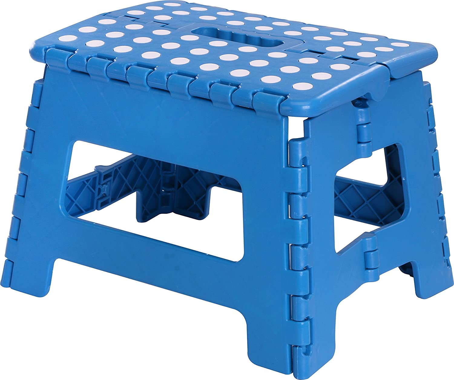 a blue step stool with white polka dots on the top surface; all on a white background