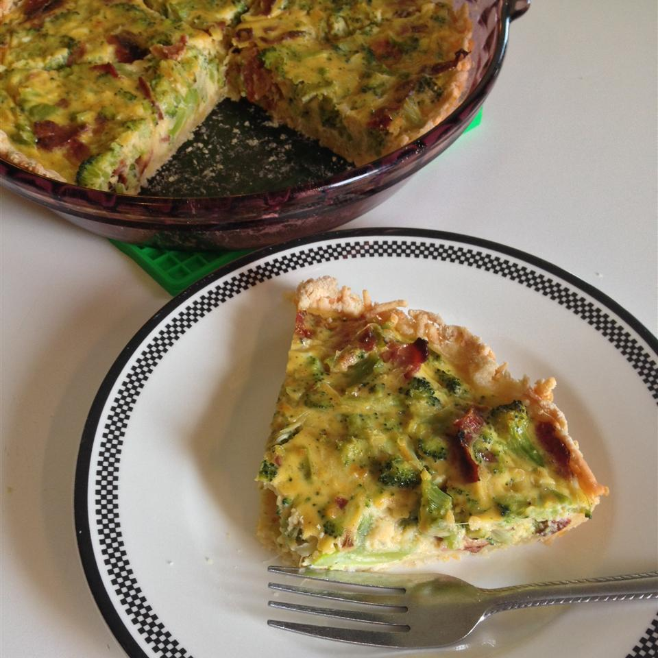 Broccoli Cheese Pie on a white plate