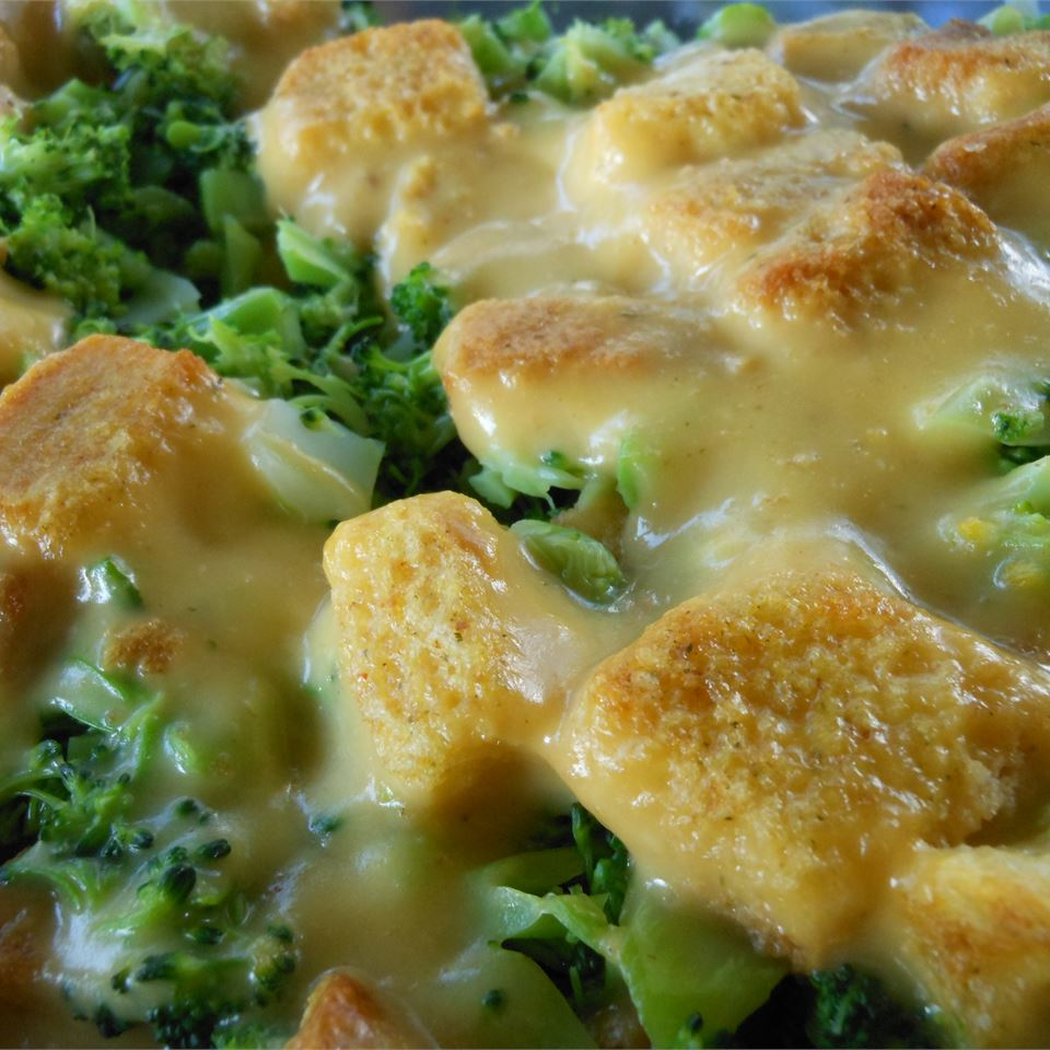 Close up of Broccoli Cheese Layer Bake