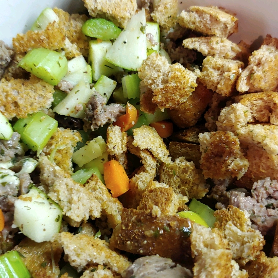 Elegant Turkey Stuffing with sausage, apples, and pecans