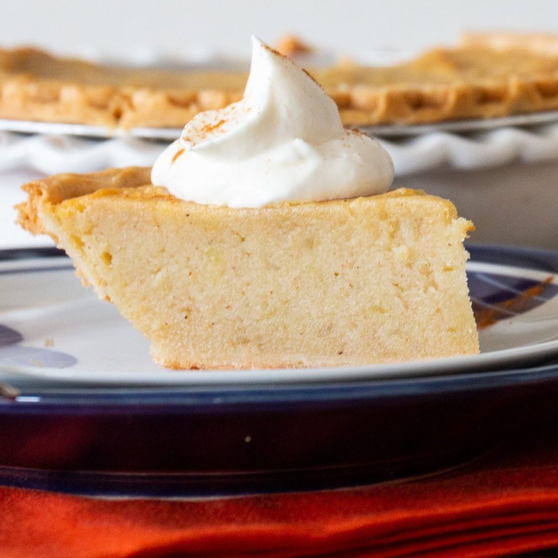 Sweet Potato Pie I on a white and blue plate