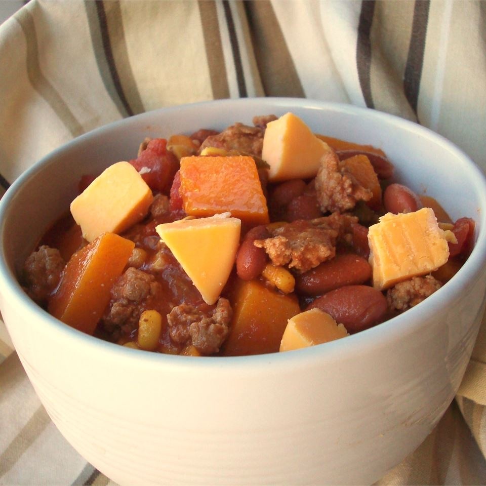 Butternut Squash and Turkey Chili in a white bowl