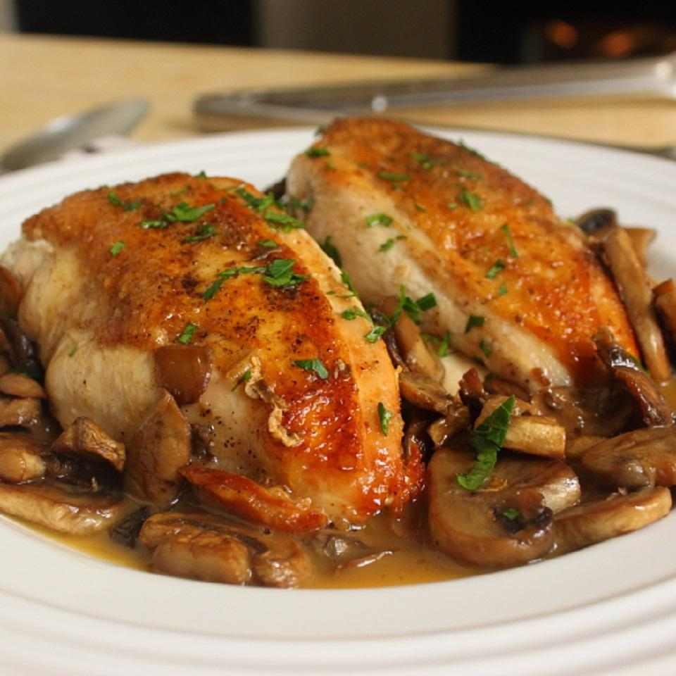 Chef John's Chicken and Mushrooms on a white plate