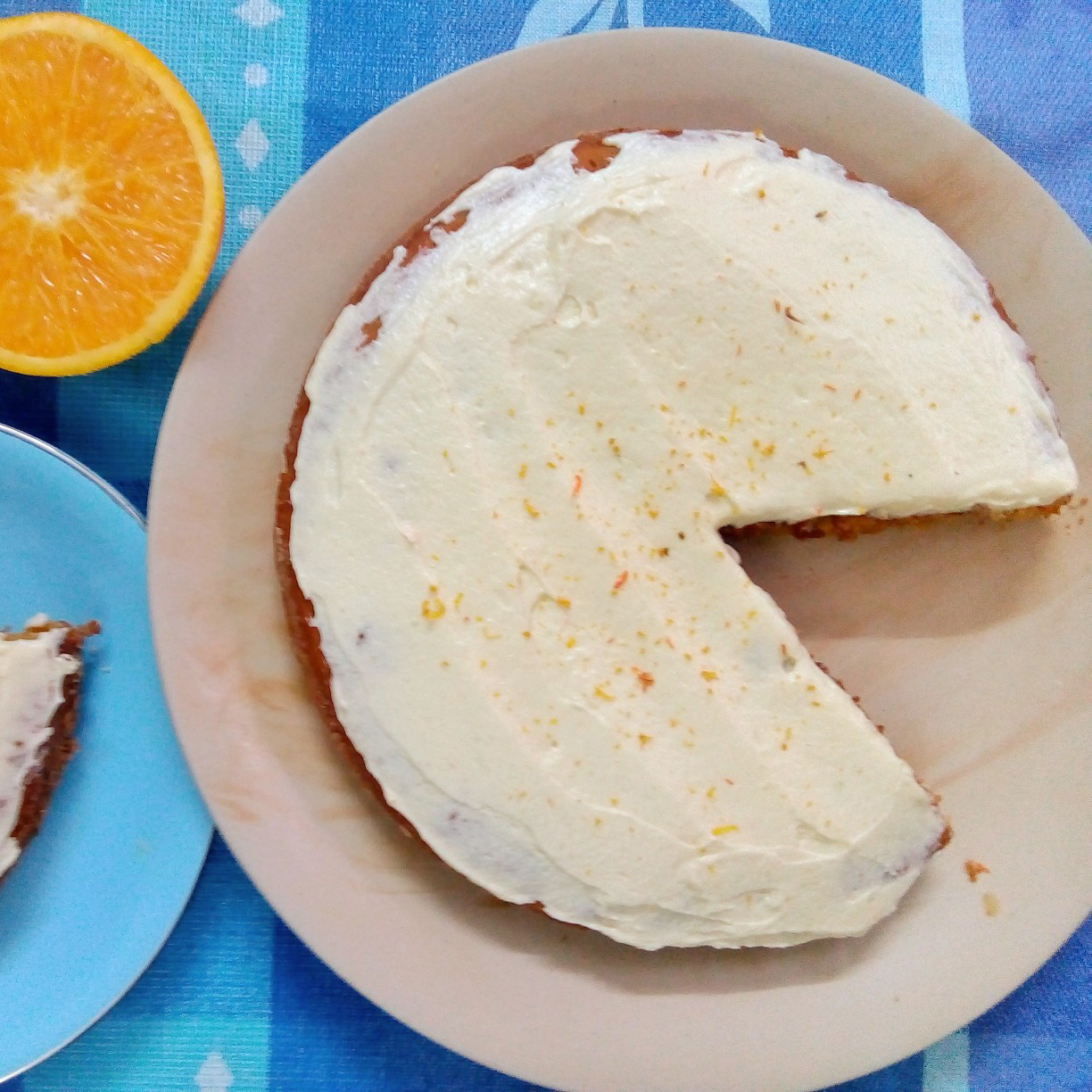 Carrot-Honey Cake on a blue background