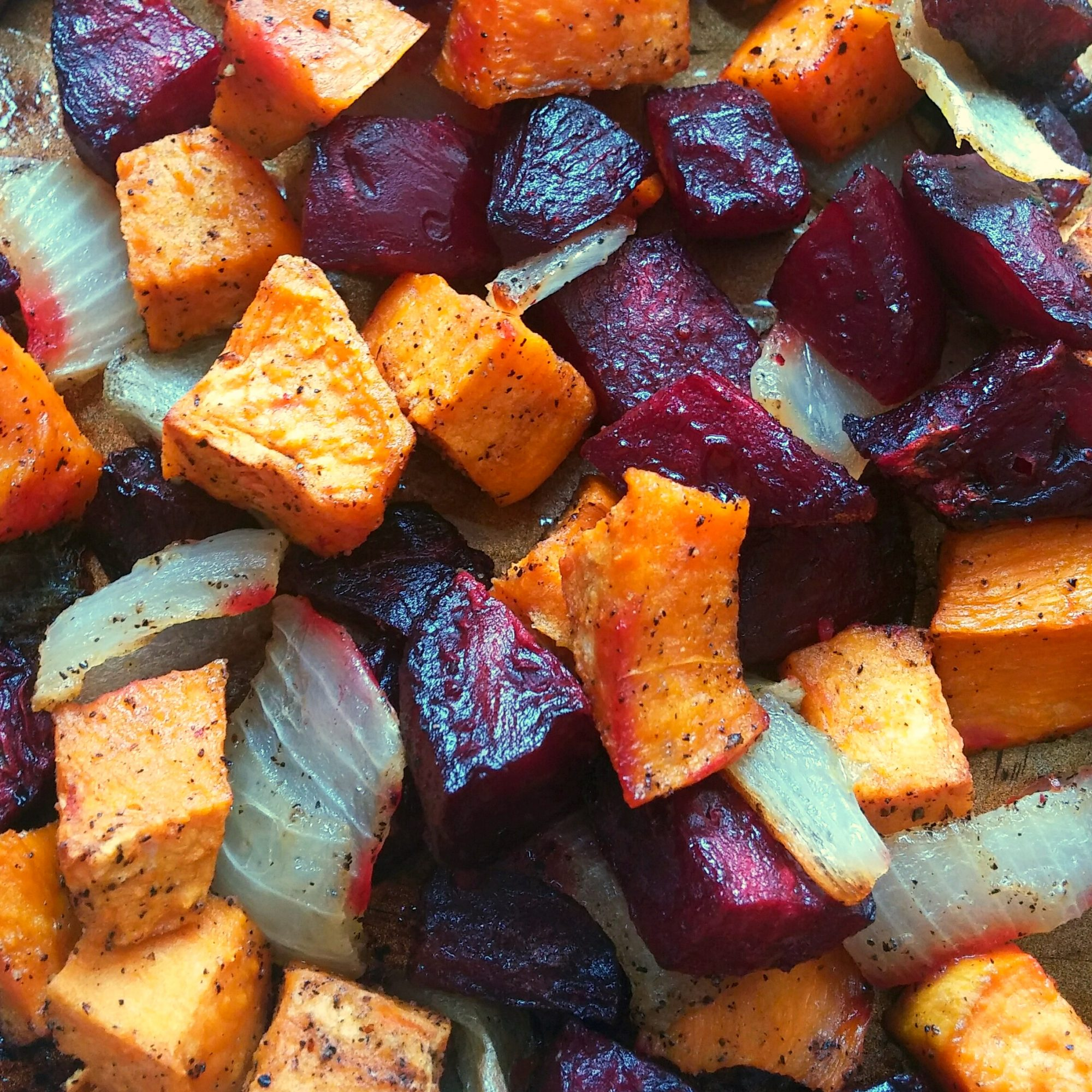 Roasted Beets 'n' Sweets on a sheet pan