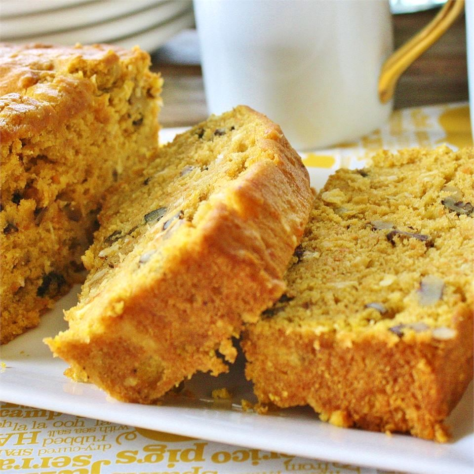 Sweet Potato and Coconut Bread on a white dish