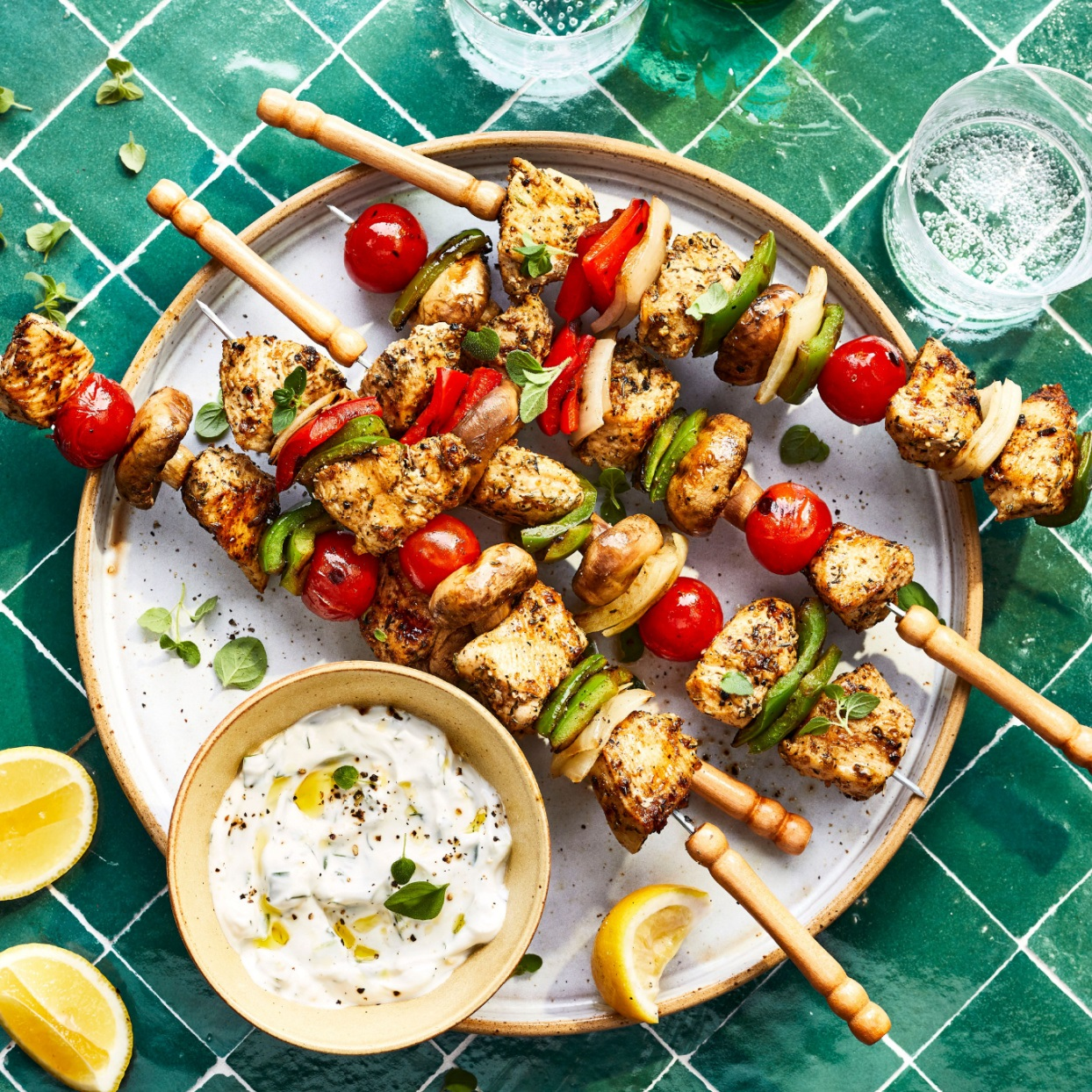 chicken shish kebabs with vegetables