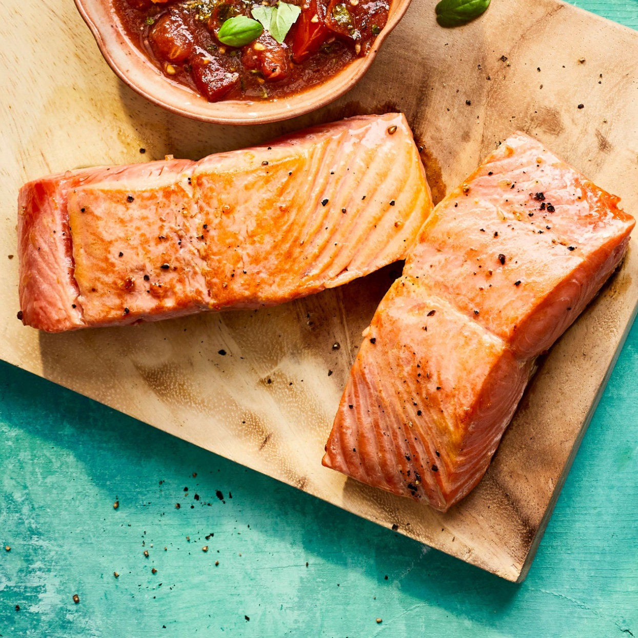 grilled salmon on a cutting board