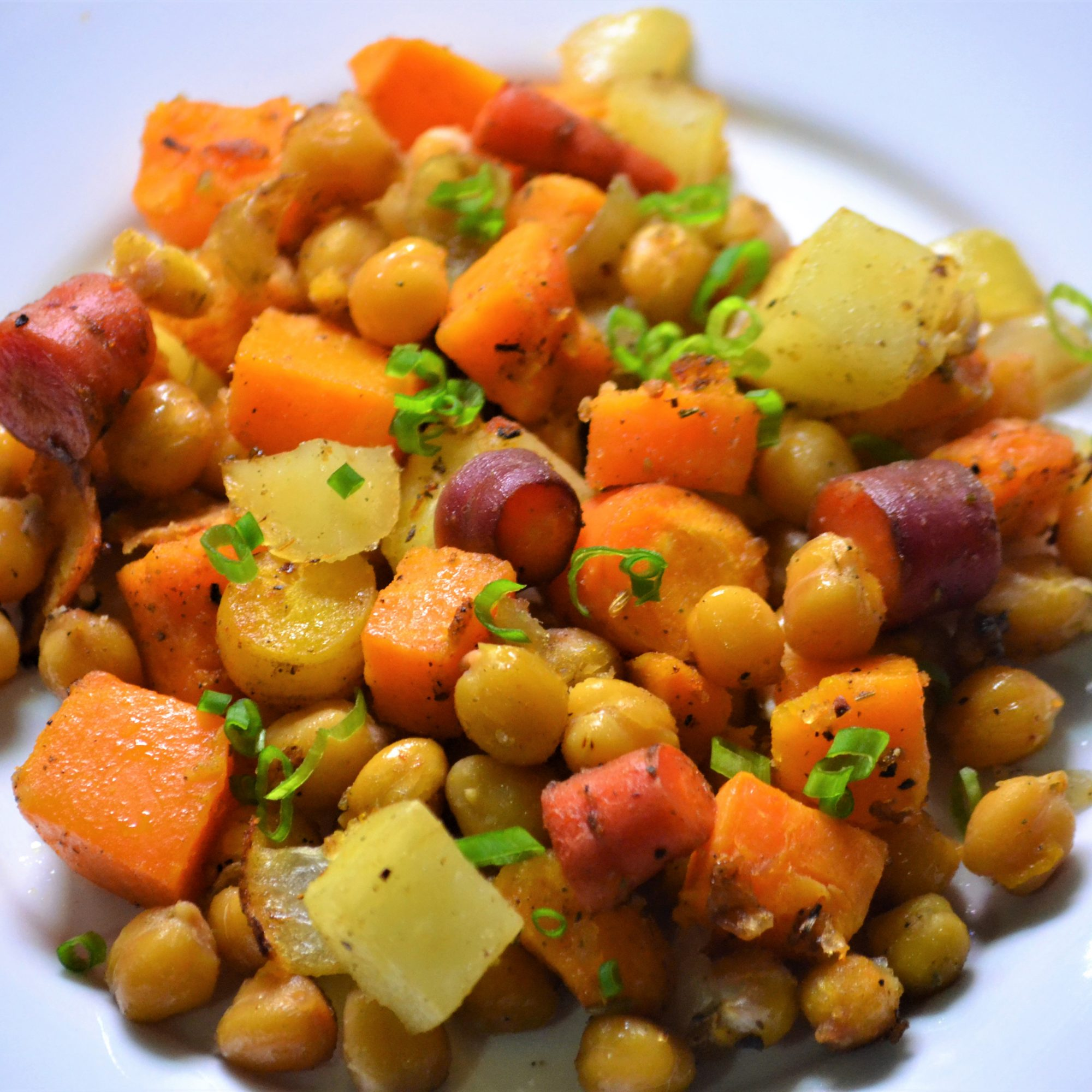 close up of roasted chickpeas and vegetables