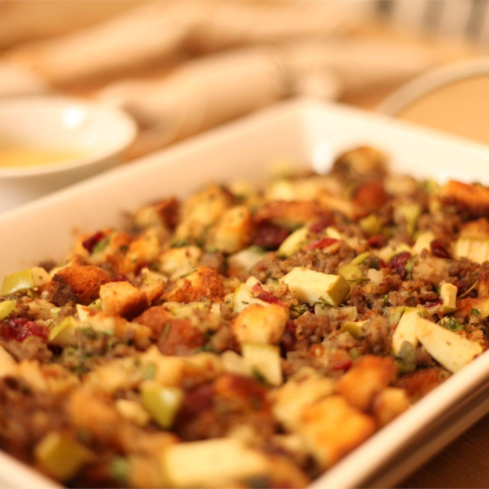 Awesome Sausage, Apple and Cranberry Stuffing in a casserole dish